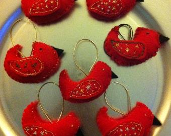 Felt Cardinal Ornaments
