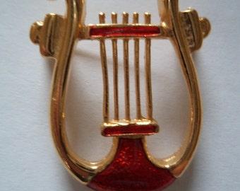 Vintage Unsigned Goldtone/Enamel Harp Brooch/Pin