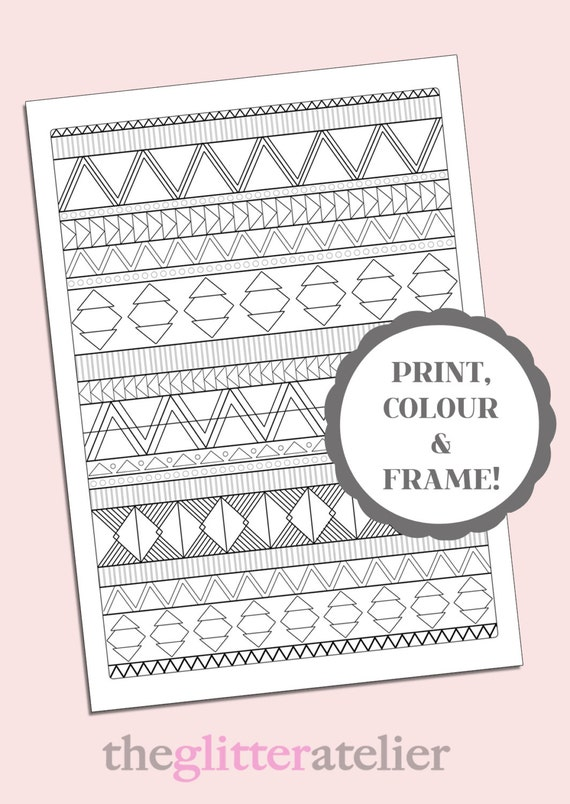 Items Similar To Tribal Triangles Colouring Page Sheet Aztec Pattern Print Instant Digital Download Printable