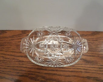 1960's Star of David Glass Divided Relish Dish