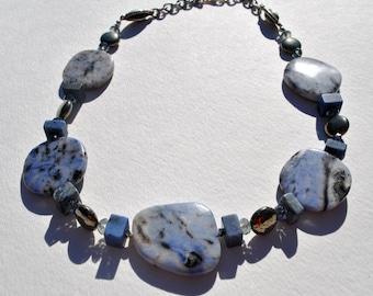 Blue and Pyrite Quartz necklace, blue squares necklace, gemstone necklace