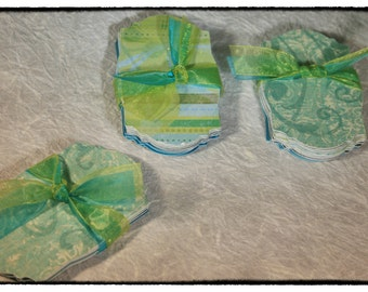 Paper Arts:  Formal Iridescent Green-Blue Spectrum Tags / Labels (Forty-five)