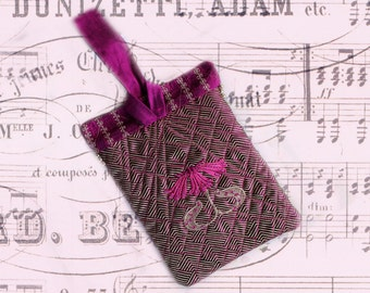 Hot pink silk wristlet purse