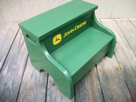 Childs Wood Step Stool John Deere Green Distressed