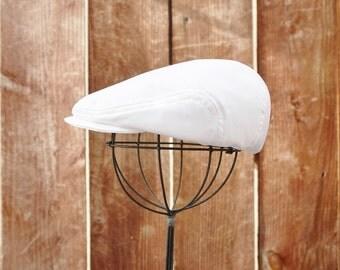 White satin newsboy hat, Christening, Baptism newsboy cap for baby