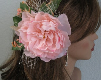 Pink Bridal Flower Hair  Clip- Wedding Hair Clip - Wedding Accessory-Peony Hair Clip-Brisdal Accessory