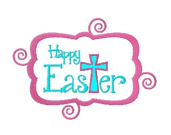 Happy Easter with Applique Cross and Swirl Border Embroidery Design