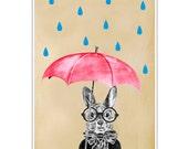 Rabbit Print, Rabbit Art Print, Rabbit Bunny Print, Rabbit Art, Bunny Print, Rabbit Wall Art, 8x10,Red, Women, Raining Rabbit Artwork