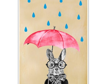 Rabbit Print, Rabbit Art Print, Rabbit Bunny Print, Rabbit Art, Bunny Print, Rabbit Wall Art, 8x10,Red, Women, Raining Rabbit Artwork
