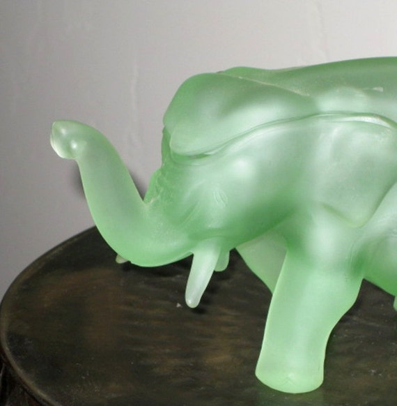 Vintage Glass Elephant Figurine Green Frosted Glass Glass