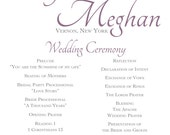 Ryan/Thomas Wedding Program and Menu