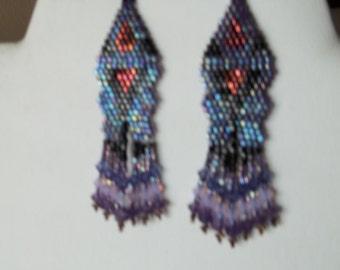 Long beaded earrings, lavenders, garnet, black