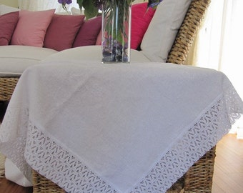 Solid White Embroidery Linen Square Small Tea Table Cloth - Cotton Bobbin Lace Around, Turkish Tailor Made Custom Tablecloth  BellaTurka