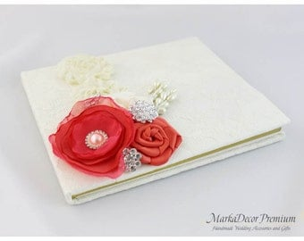READY TO SHIP Wedding Lace Guest Book Custom Made in Ivory and Coral with Handmade Flowers, Brooches and Stamens' Accents