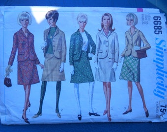 Simplicity 6685 - Misses' Suit Pattern - Size 10 - Patterns Tutorials - Mod Jacket Pattern - Sewing Supply