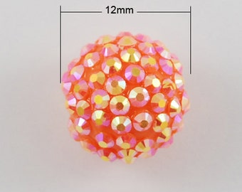 10 - 12mm Orange Resin Rhinestone Shambhala Basketball Wives Beads