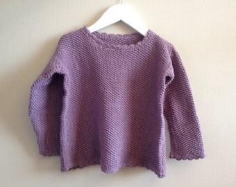 Girl cardigan sweater. Hand Knit Sweater, Girls. Children Clothing. Purple