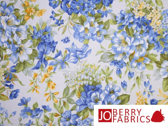 Summer Breeze Ii Blue And Yellow Floral Fabric