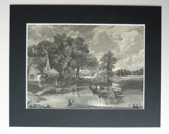 1886 Antique Print Of The Hay Wain By John Constable - River Stour - Suffolk - Rural - Rustic - Landscape - Picture - Countryside Painting