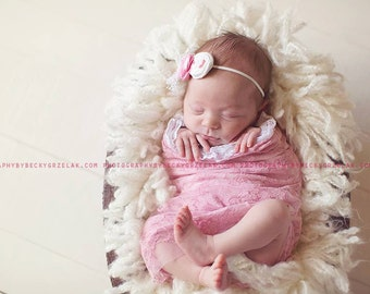White Pink Baby Headband  Newborn Rosettes  Headband  Photo Prop Headband  Baby Girls Hair Accessories with brown bow