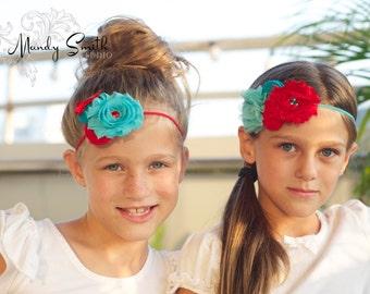Turquoise Red Girls Headband ; Girl  Baby Turquoise Chiffon Headband ,Rosettes headband for girls