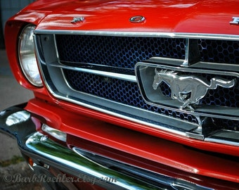 Racy Red - Wall Art -  Retro Print - Vintage Car Photography - Garage Art - Father's Day - Mustang - Grille - Red - 8x10