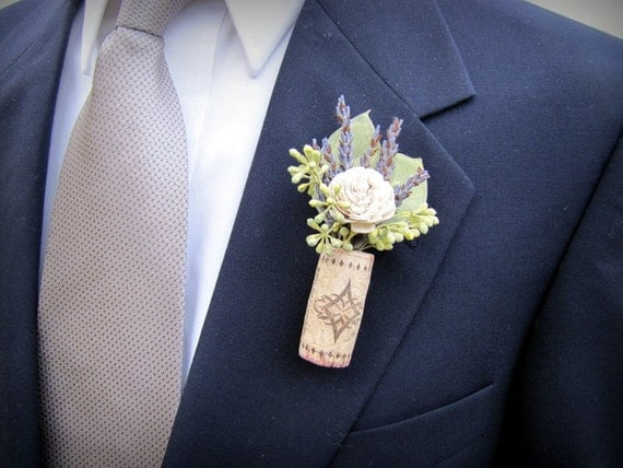 wine cork boutonnieres winery theme boutonniere cork, Natural flower