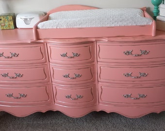 SOLD -- Paradise Peach, dresser and changing tray customized