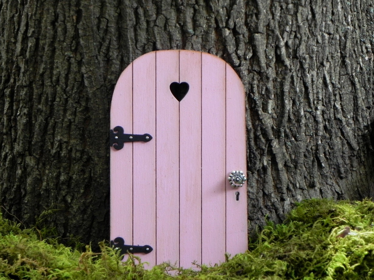 Fairy door fairy garden miniature wood carnation pink with for Wooden fairy doors