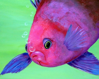 Original Acrylic SQUARESPOT ANTHIAS FISH Painting with Bubbles