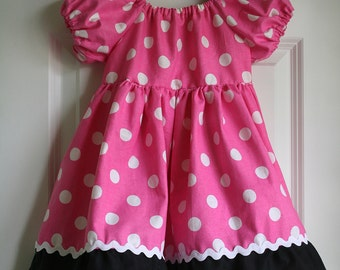 Minnie inspired Twirl peasant dress 6months - Size 3T