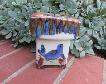 Ken Edwards Signed Pottery Mexico Candle Holder