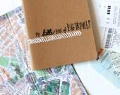 Travel Journal Simple Modern • Gift Under 25 Stocking Stuffer • Gifts for Her Traveler • Going Away Gift• Calligraphy White Kraft Moleskin