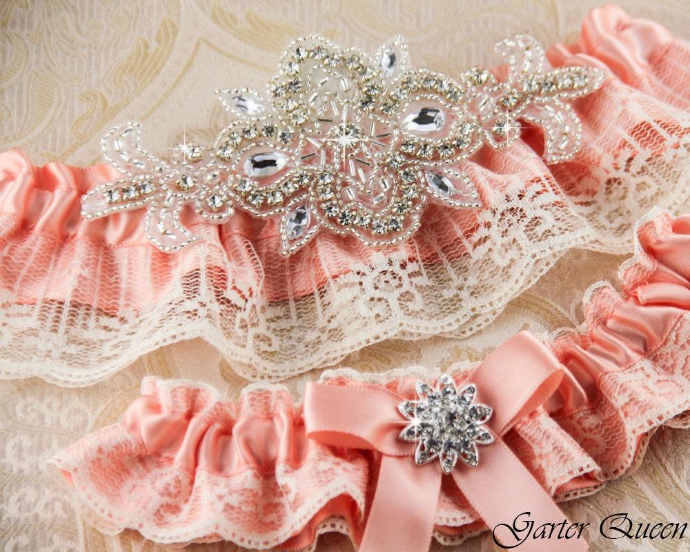 Peach Wedding Garter Set Lace Wedding Garter Set Bridal