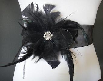 Black Bridal Belt, Black Bridal Sash, Flower Bridal Belt, Crystal Bridal Sash Belt, Rhinestone Bridal Belt,  Crystal Bridal Belt