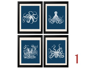 Octopus Print, Blue Octopus, Cuttlefish, Antique Marine Sealife Illustrations, Octopus Print Set, Blue White, Nautical Wall Art