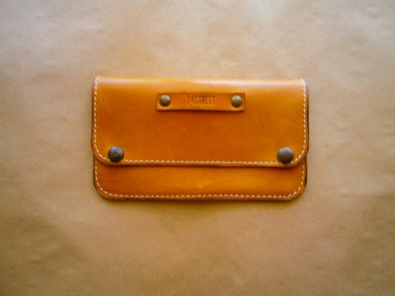 Camel Leather Wallet, Double compartimented wallet, Raw wallet, Handmade wallet, Full Grain Leather Wallet