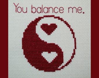 Yin Yang -You Balance Me- Hearts Cross Stitch Pattern, Yin and Yang with Hearts Cross Stitch Pattern, Valentine Pattern, Instant Download