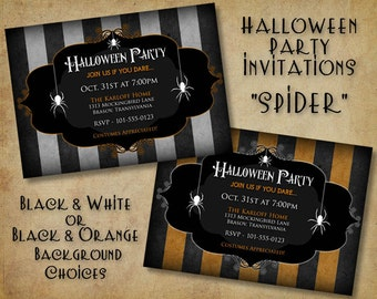 Spiders Halloween Party Invitation - (DIGITAL FILE ONLY)