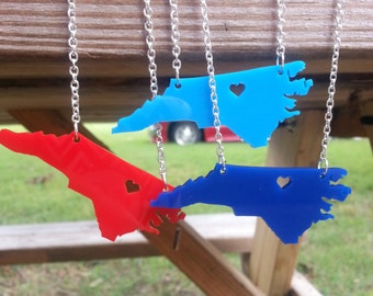 Personalized! North Carolina (or any state) cutout necklace