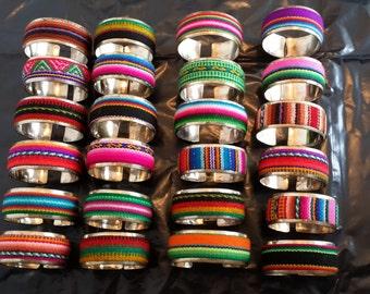 Wholesale  Lot 100 peruvian fabric  textile cuff  Bracelets handmade peru