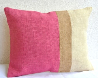 Pink Pillow - Burlap Pillow color block - Pink Decorative cushion cover- Spring Throw pillow gift 12X16 - Pink Lumbar Pillow