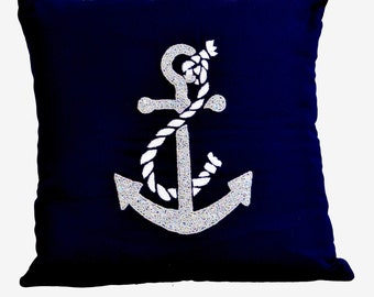 Nautical throw pillows- Beach throw pillows -Anchor throw pillows- Embroidered Pillow -16X16- Modern couch pillows- Gift Pillow- Navy pillow
