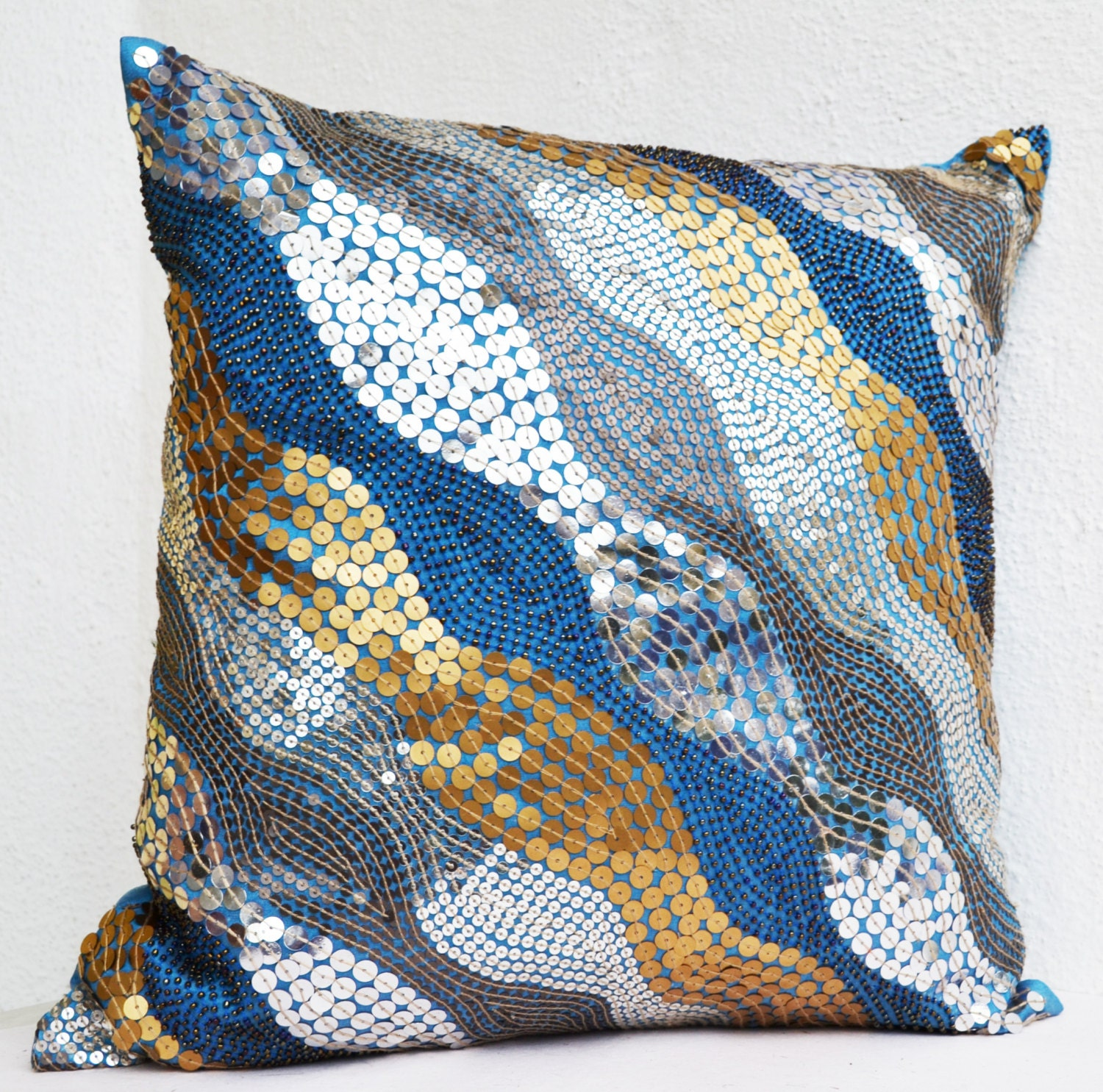 Blue throw pillows with silver copper sequins silver pillow - Accent pillows for couch ...