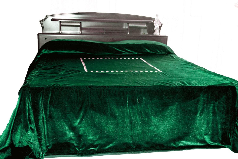 Luxury Bedspread In Dark Green Velvet Couture Bed Linen In
