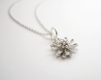 Silver necklace with petite dandelion flower