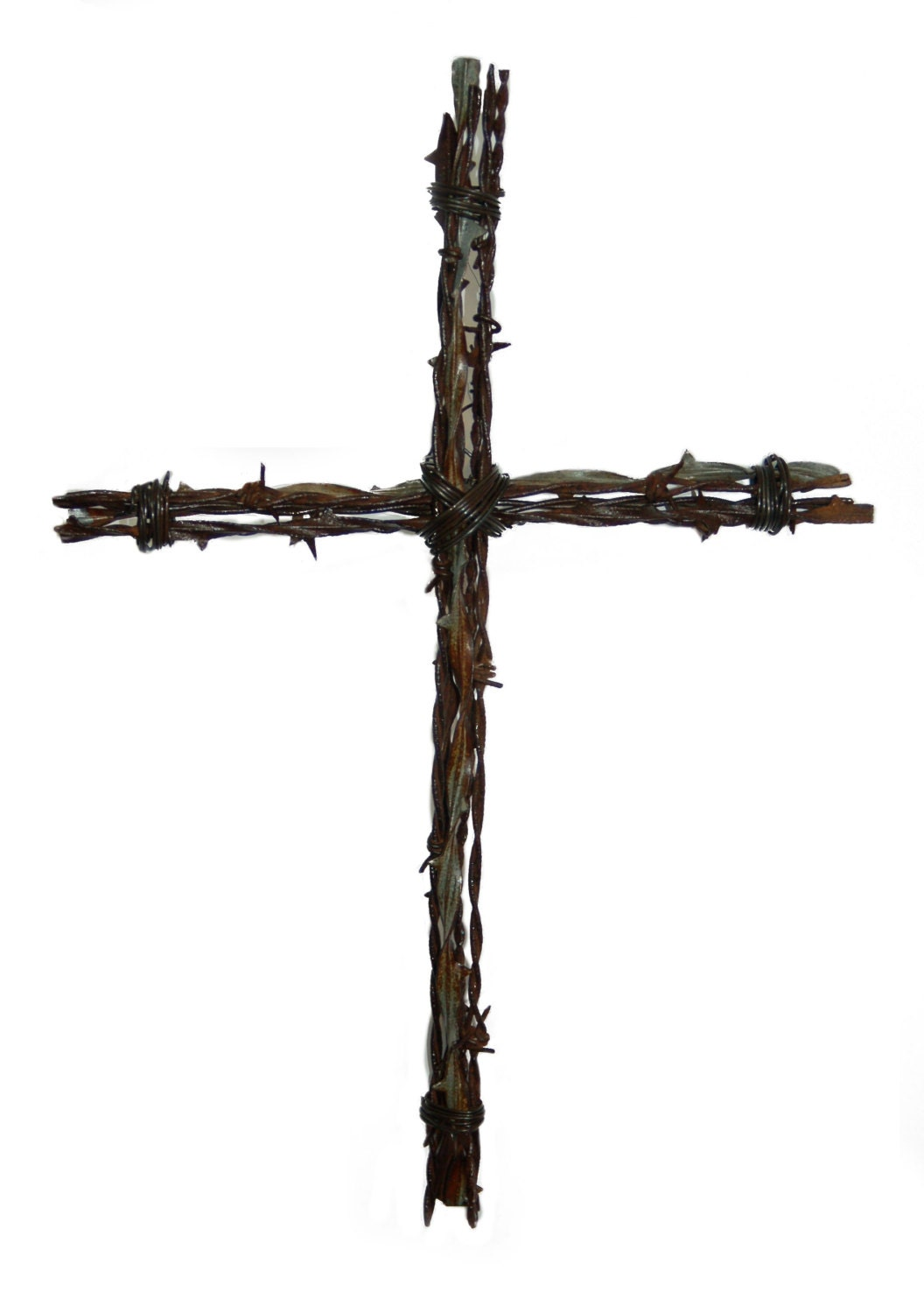 Rustic cross made with antique barbed wire by ellwooddesigns