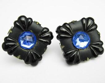 1930s Authentic Bakelite Earrings, Post Backs, Blue Swarovski Faceted Crystals, Art Deco, NY USA.