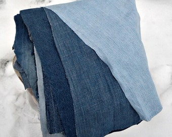 Denim Scraps by the Pound- Fabric Grab Bag- Generous Pound of Upcycled Denim- Repurposed Denim- Repurposed Jeans- for Crafts and Quilts