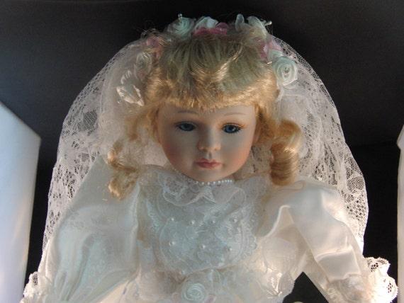 Porcelain Wedding Dolls CHRISTINA Wedding Bride Porcelain Doll by